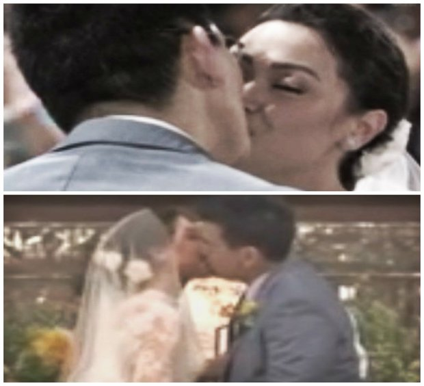 maya and sir chief wedding kiss collage
