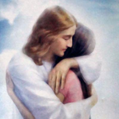 jesus hug a woman